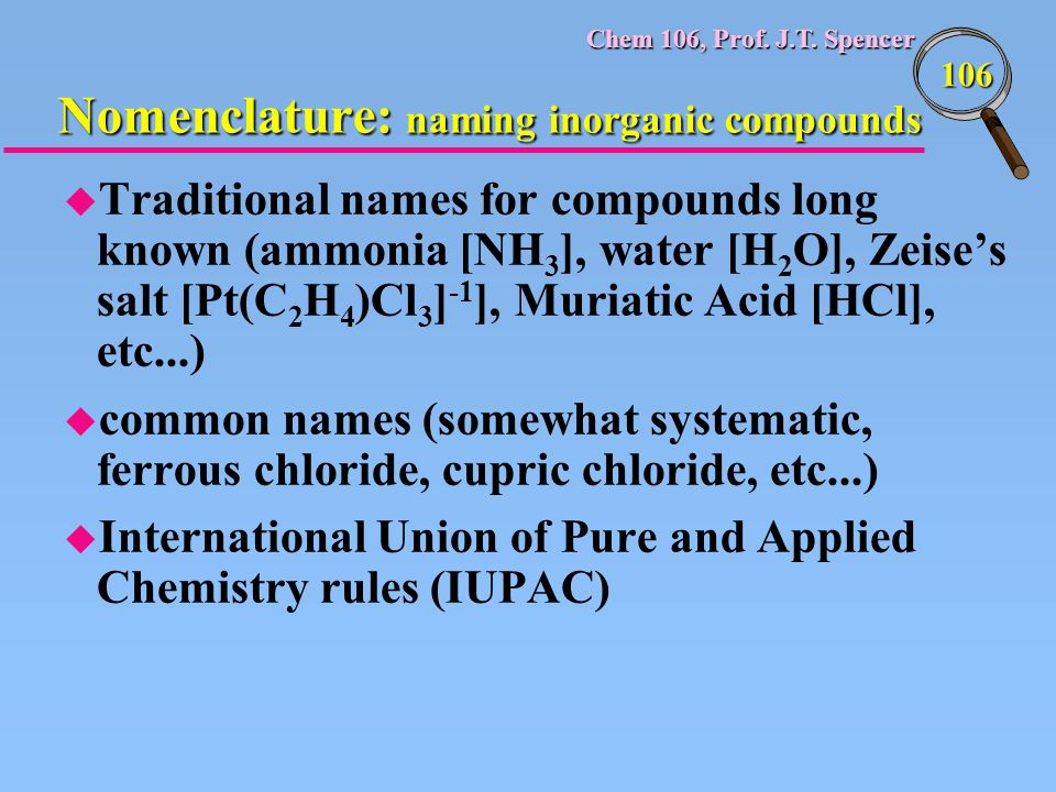 Nomenclature: naming inorganic compounds