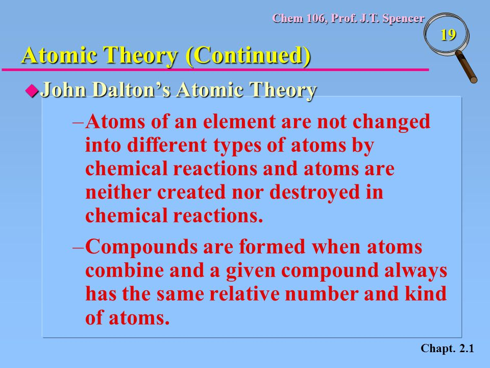 Atomic Theory (Continued)