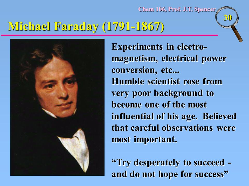 Michael Faraday (1791-1867) Experiments in electro-magnetism, electrical power conversion, etc...