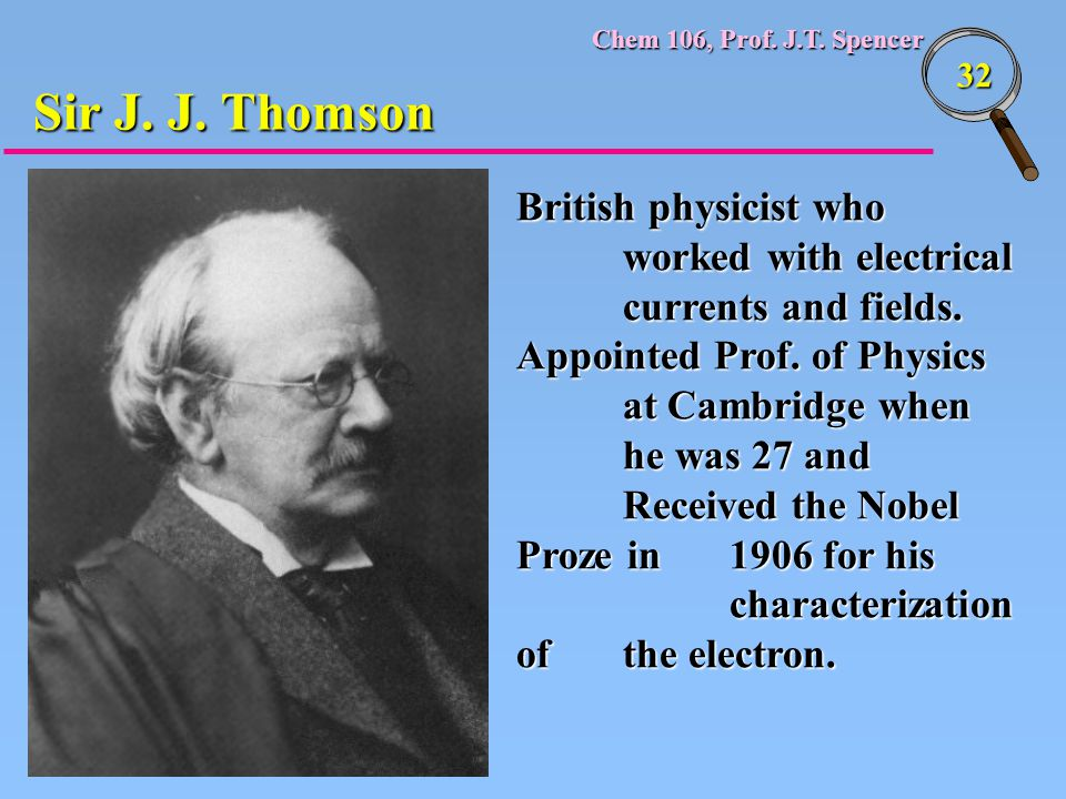 Sir J. J. Thomson British physicist who worked with electrical currents and fields.