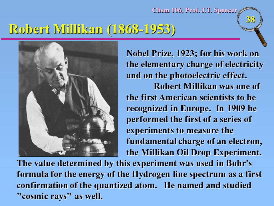 Robert Millikan (1868-1953) Nobel Prize, 1923; for his work on the elementary charge of electricity and on the photoelectric effect.
