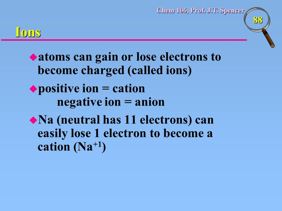 Ions atoms can gain or lose electrons to become charged (called ions)