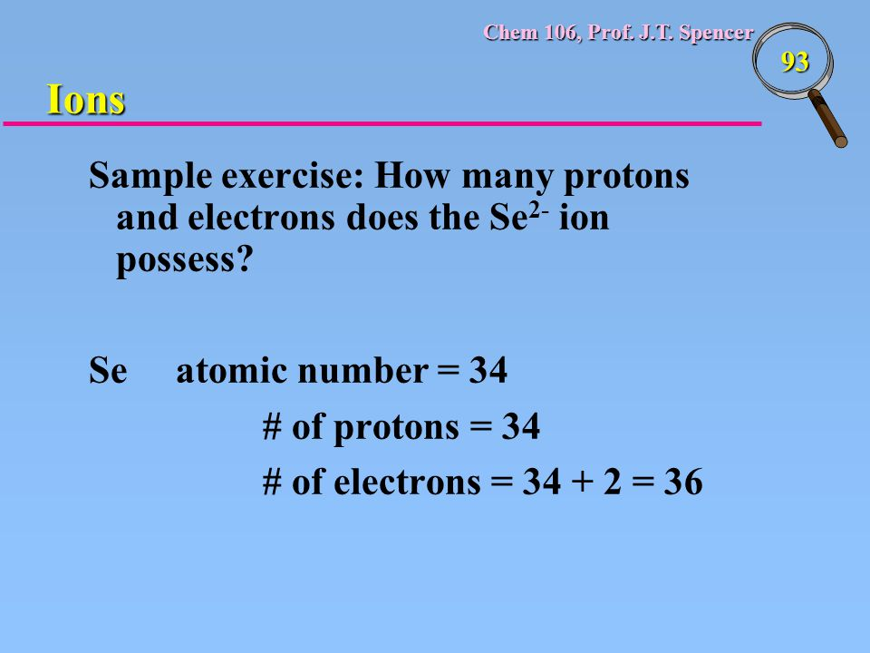 Ions Sample exercise: How many protons and electrons does the Se2- ion possess Se atomic number = 34.