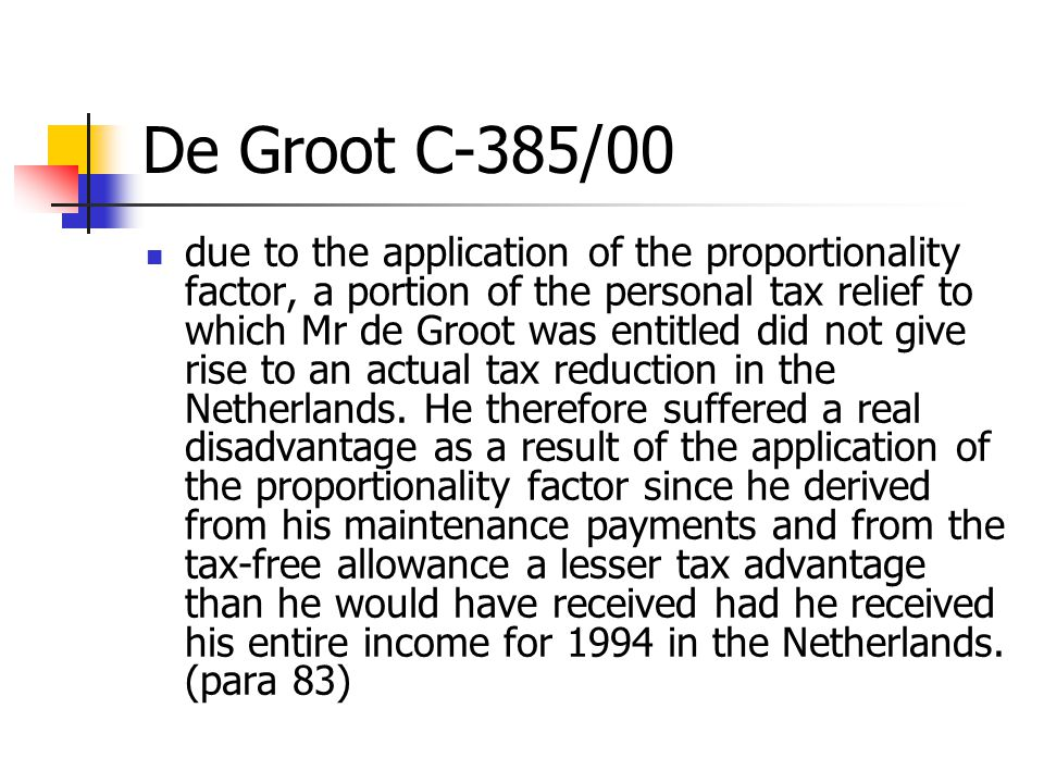 De Groot C-385/00