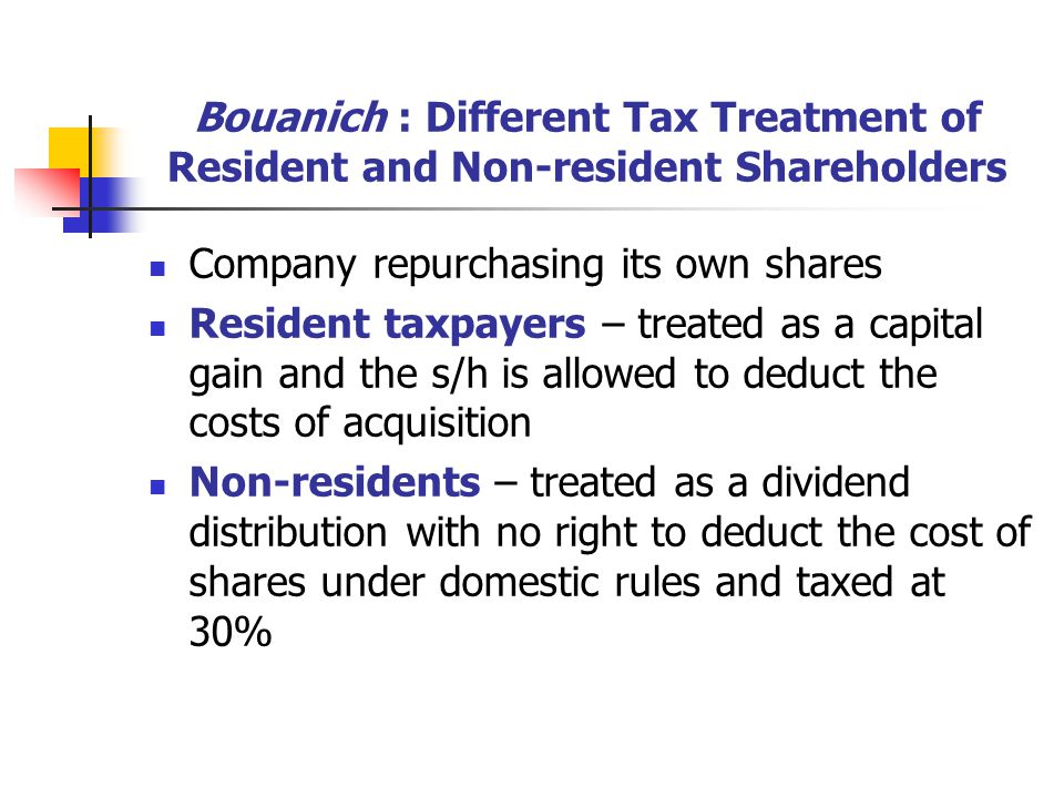 Bouanich : Different Tax Treatment of Resident and Non-resident Shareholders