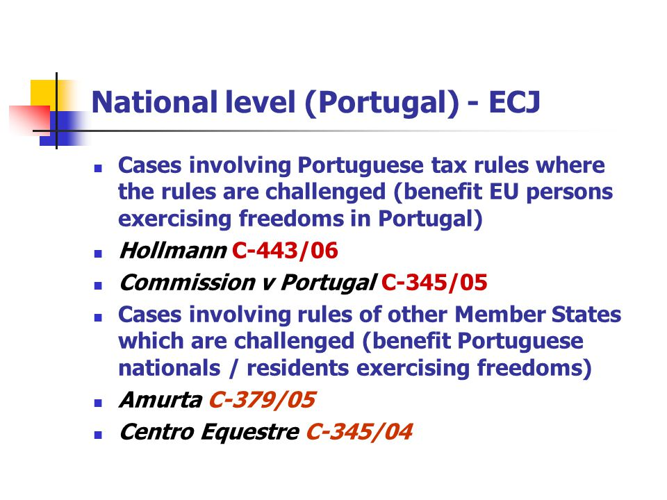 National level (Portugal) - ECJ