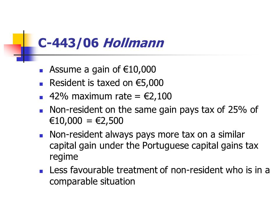 C-443/06 Hollmann Assume a gain of €10,000 Resident is taxed on €5,000