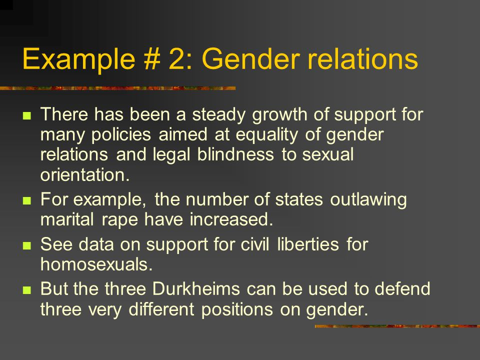 Example # 2: Gender relations