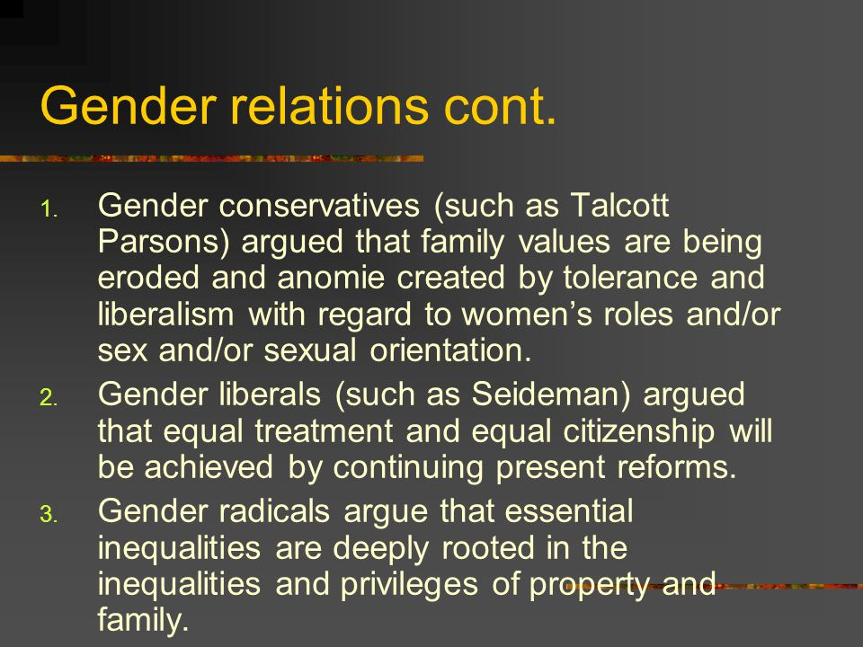 Gender relations cont.