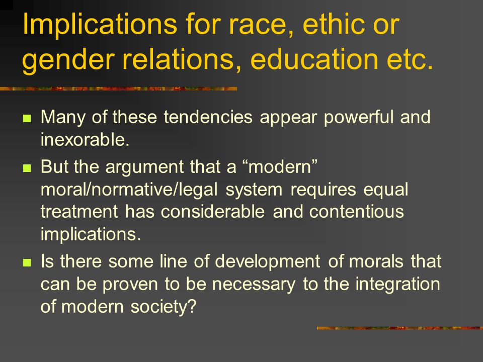 Implications for race, ethic or gender relations, education etc.