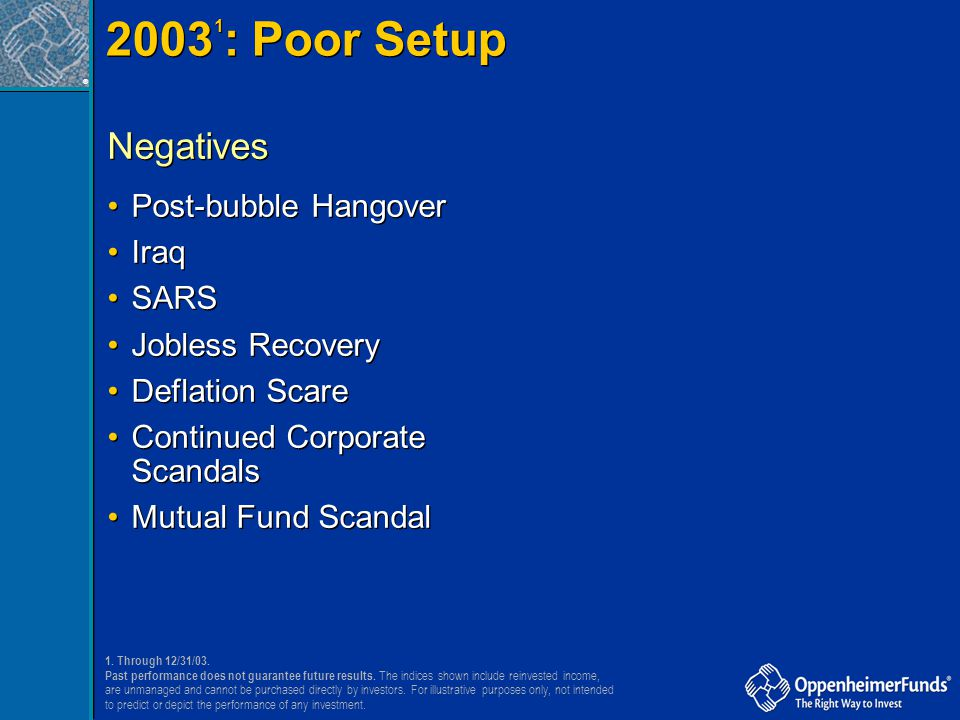 20031: Poor Setup Negatives Post-bubble Hangover Iraq SARS