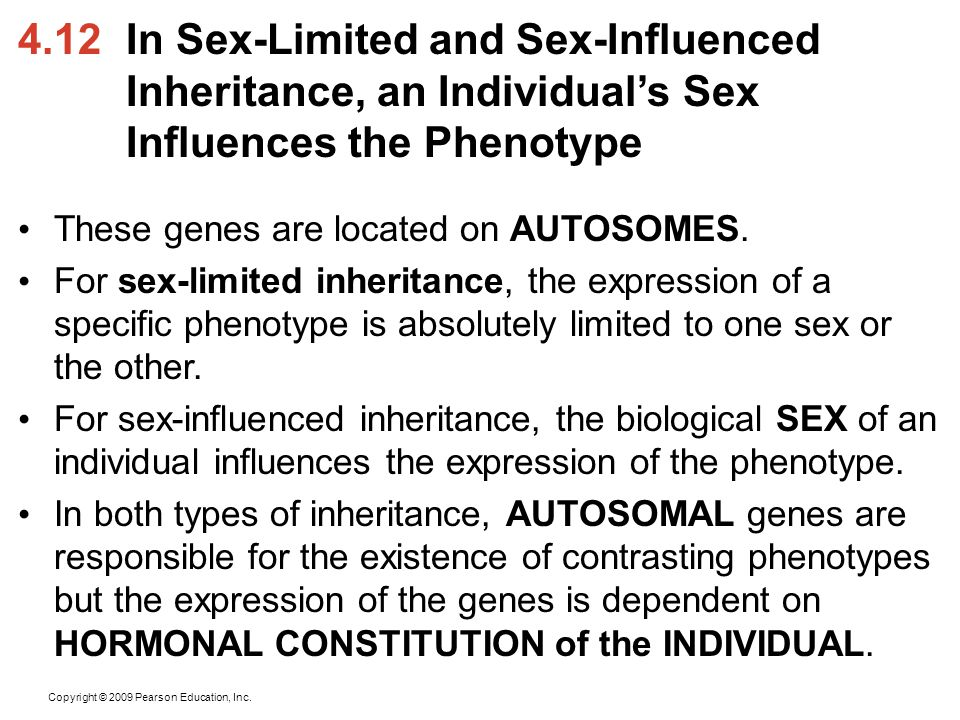 4.12 In Sex-Limited and Sex-Influenced Inheritance, an Individual's Sex Influences the Phenotype