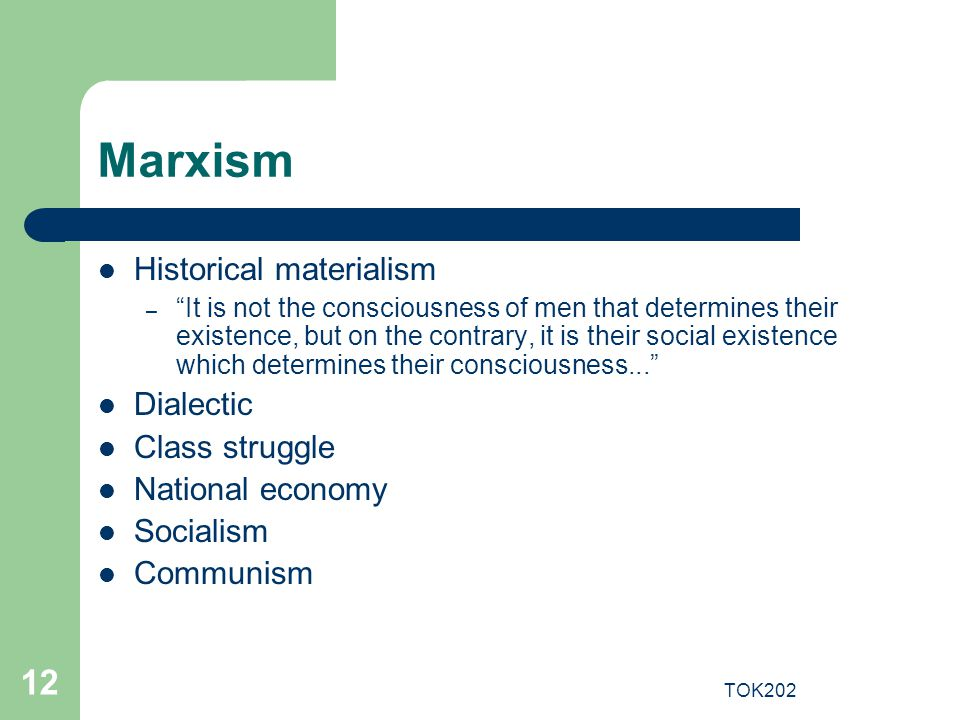 Marxism Historical materialism Dialectic Class struggle