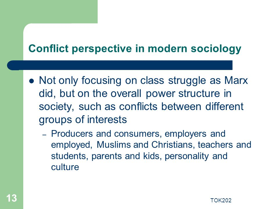 Conflict perspective in modern sociology