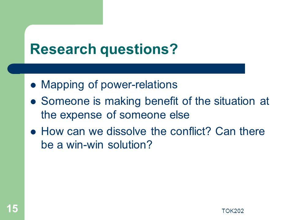 Research questions Mapping of power-relations