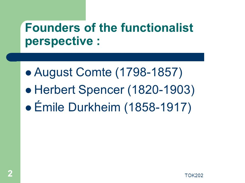 Founders of the functionalist perspective :