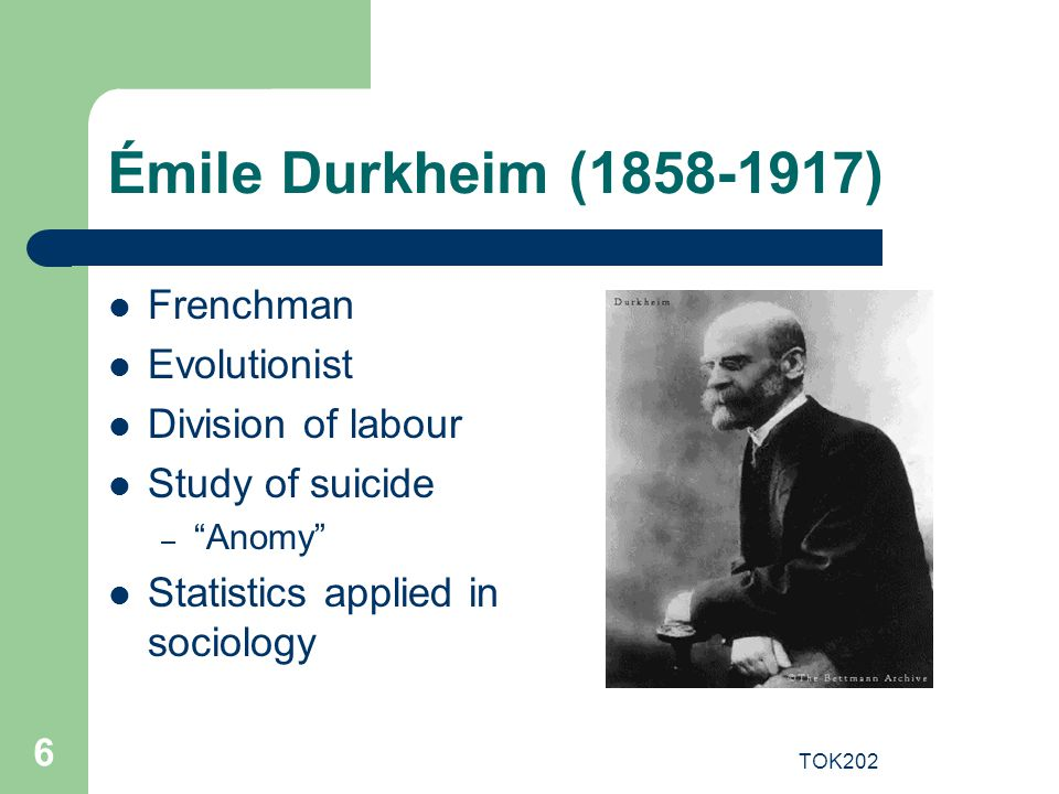 Émile Durkheim (1858-1917) Frenchman Evolutionist Division of labour