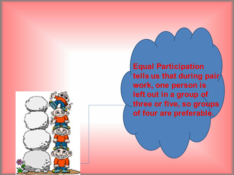 Equal Participation tells us that during pair work, one person is left out in a group of three or five, so groups of four are preferable.