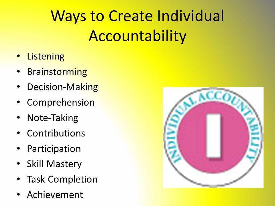 Ways to Create Individual Accountability