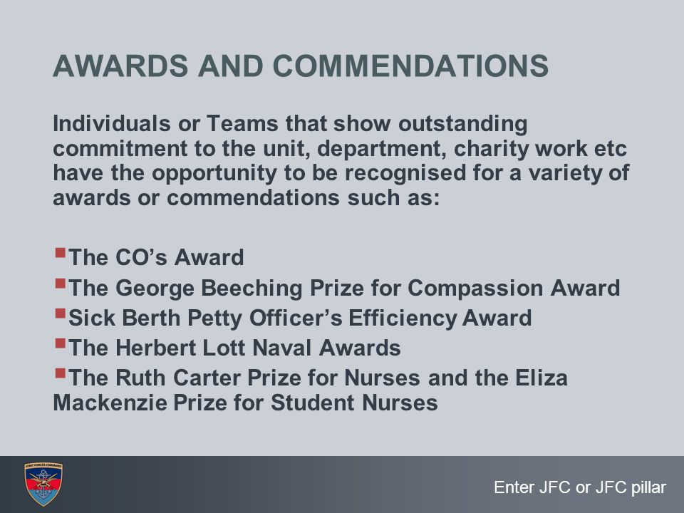 AWARDS AND COMMENDATIONS