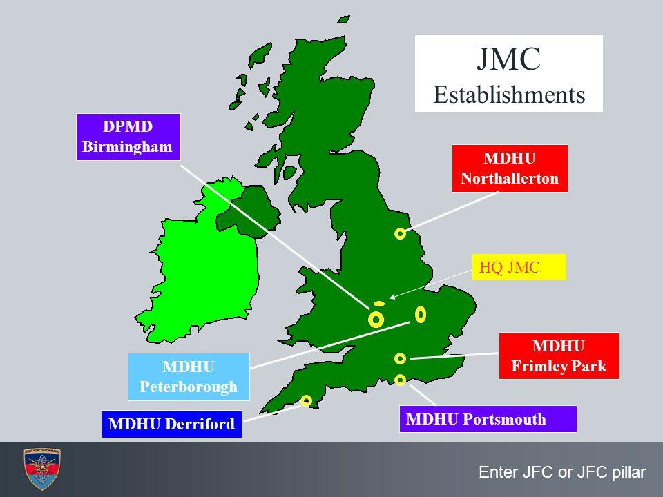 JMC Establishments DPMD Birmingham MDHU Northallerton HQ JMC MDHU