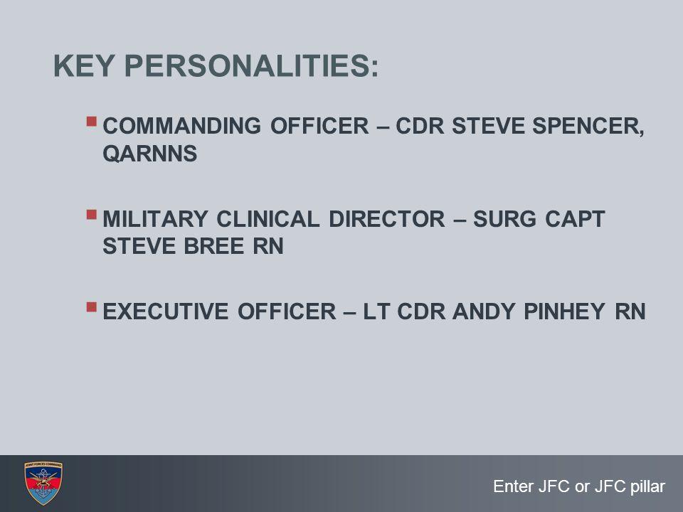 KEY PERSONALITIES: COMMANDING OFFICER – CDR STEVE SPENCER, QARNNS