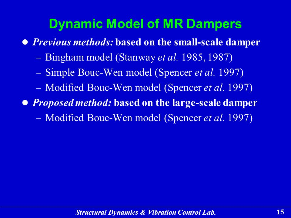 Dynamic Model of MR Dampers