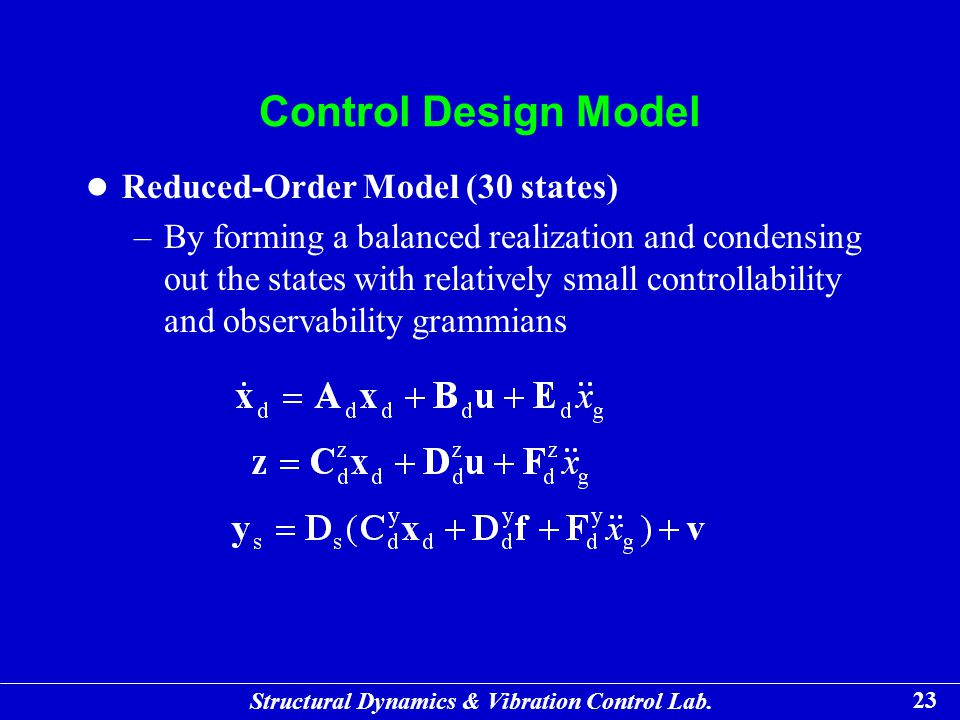 Control Design Model Reduced-Order Model (30 states)