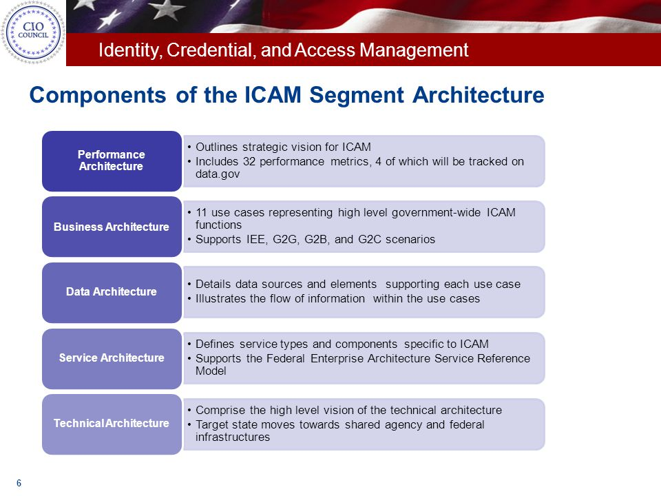 Components of the ICAM Segment Architecture