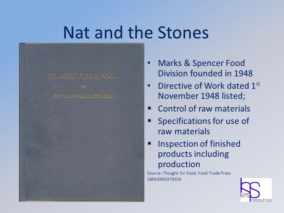 Nat and the Stones Marks & Spencer Food Division founded in 1948