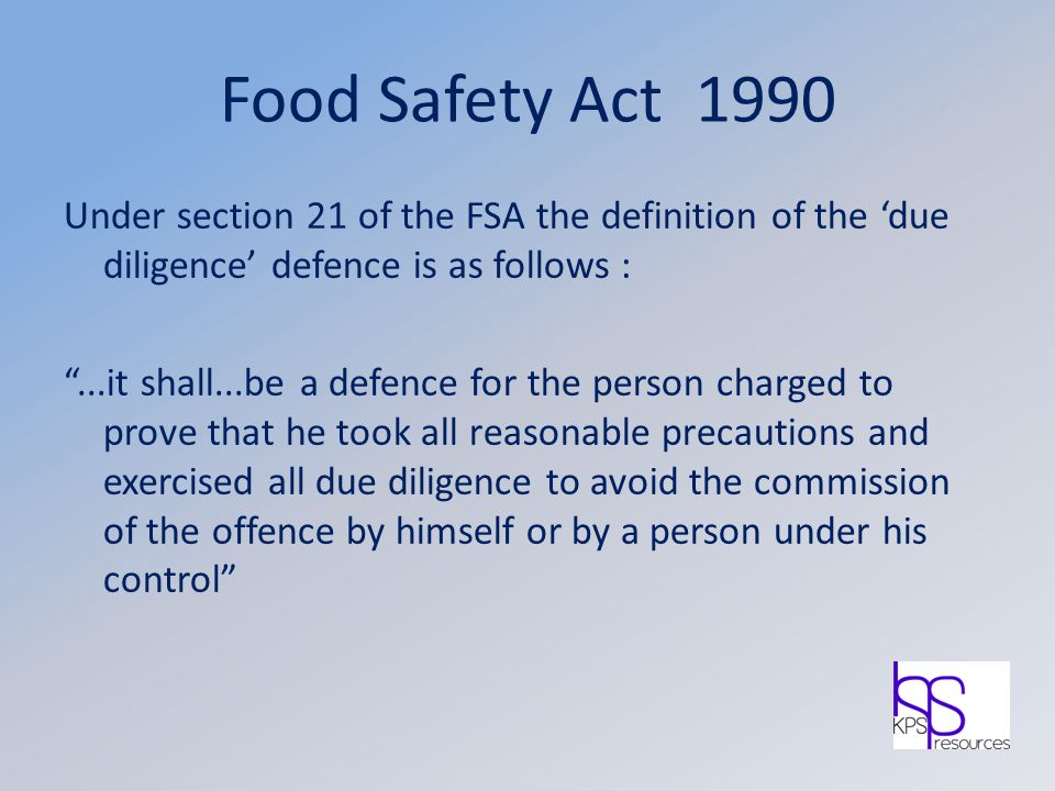 Food Safety Act 1990