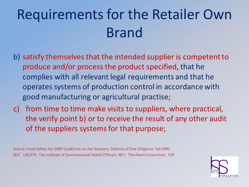 Requirements for the Retailer Own Brand