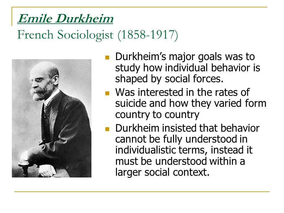 Emile Durkheim French Sociologist (1858-1917)