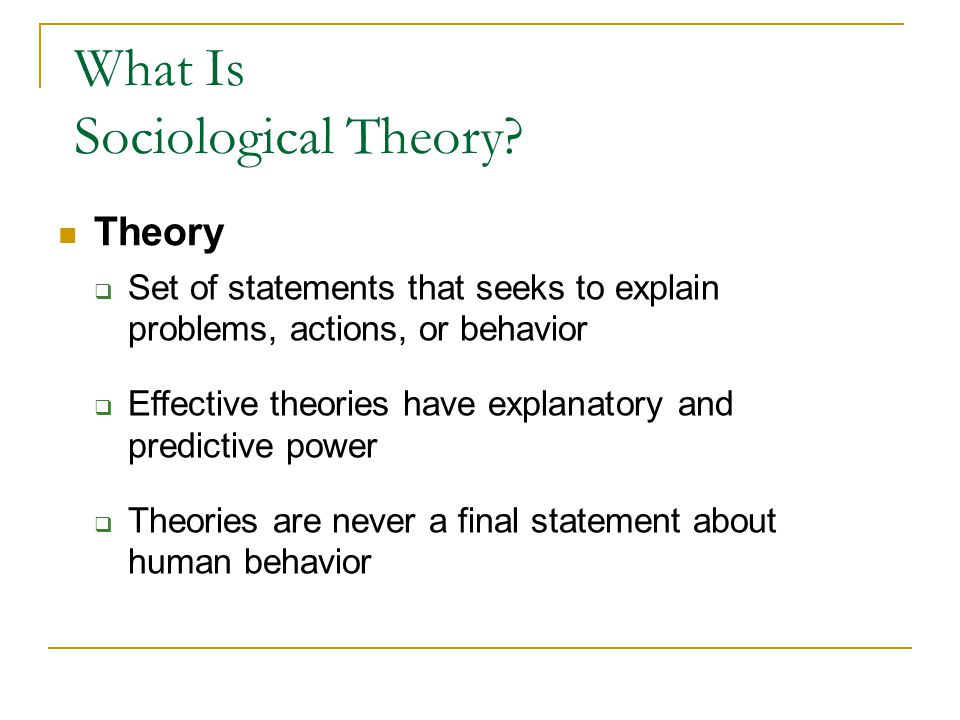 What Is Sociological Theory