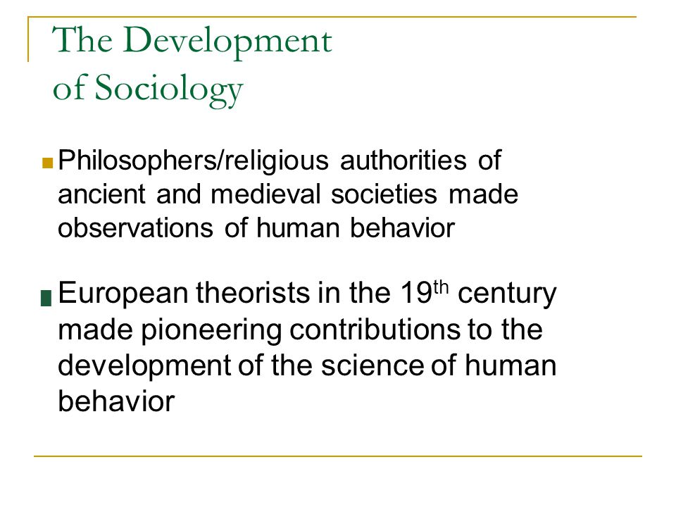 the development of sociology Development sociology is the study of the causes and consequences of economic change in society the study of development has been one of the fundamental aspects of sociology since the.