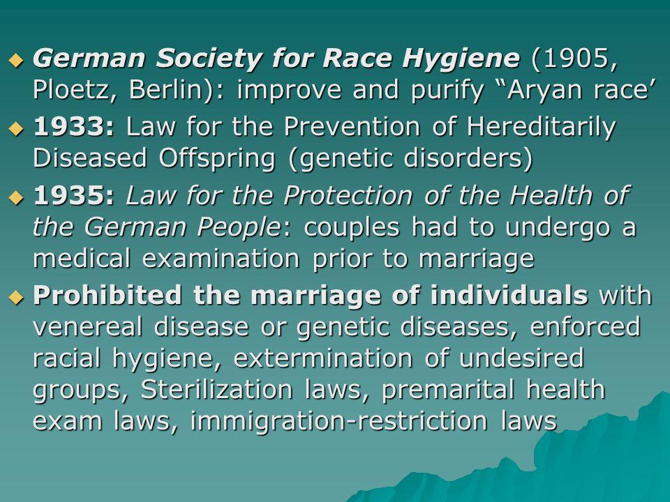 German Society for Race Hygiene (1905, Ploetz, Berlin): improve and purify Aryan race'