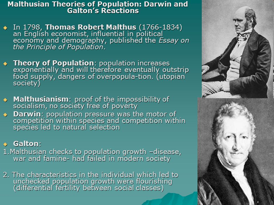 Malthusian Theories of Population: Darwin and Galton's Reactions