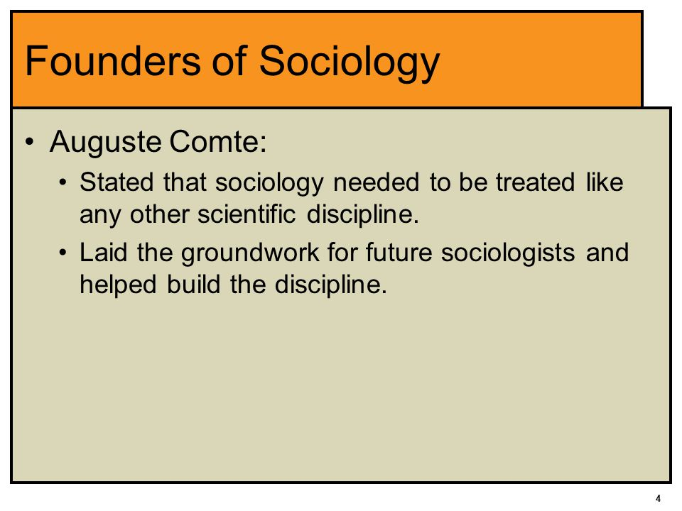 Founders of Sociology Auguste Comte: