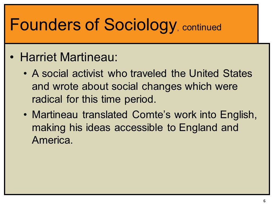 Founders of Sociology, continued