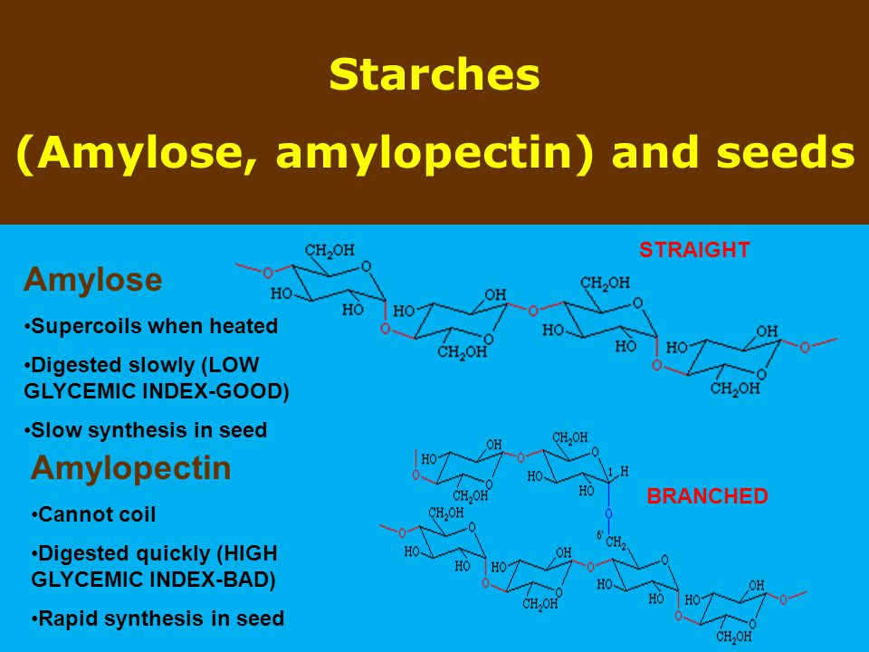 (Amylose, amylopectin) and seeds