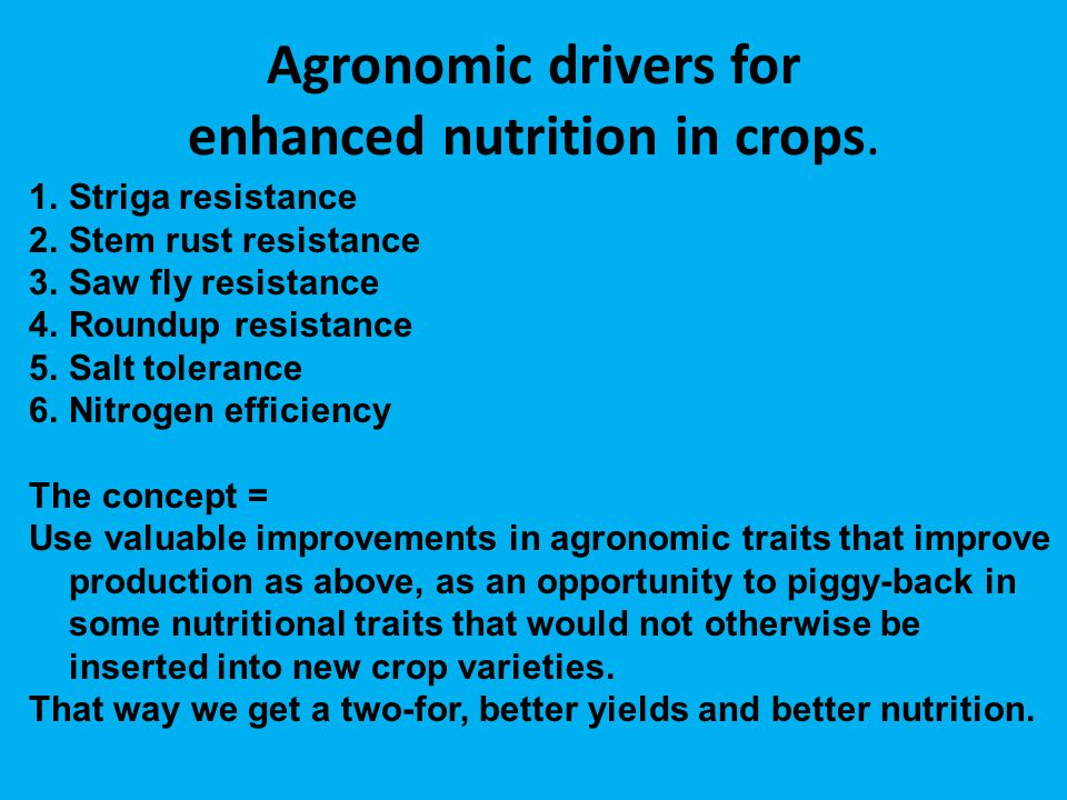 Agronomic drivers for enhanced nutrition in crops.