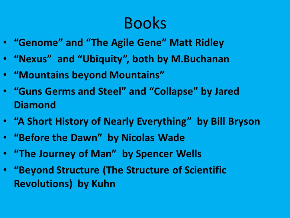 Books Genome and The Agile Gene Matt Ridley