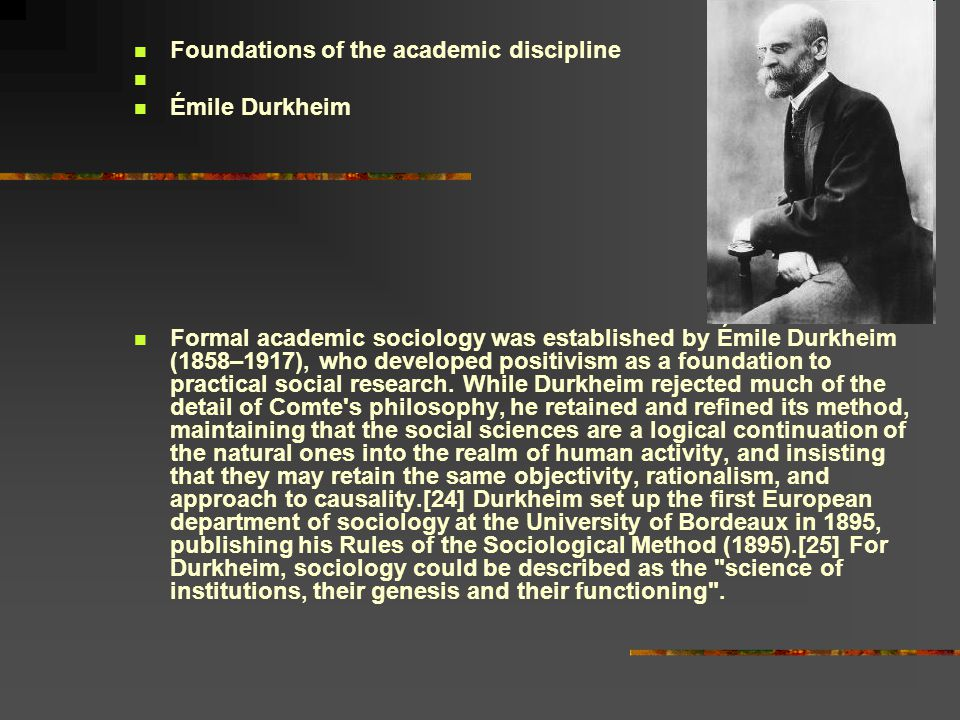 Foundations of the academic discipline