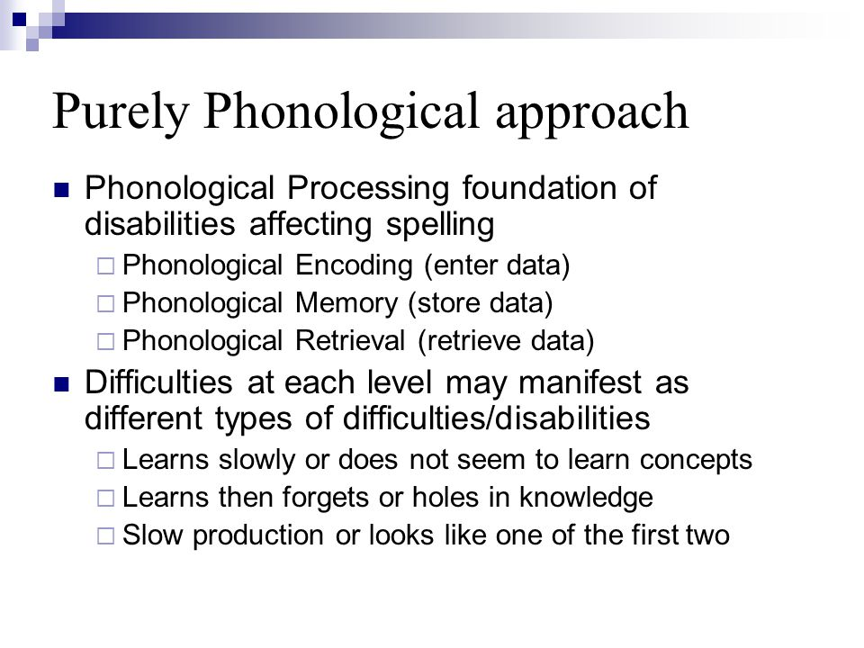 Purely Phonological approach