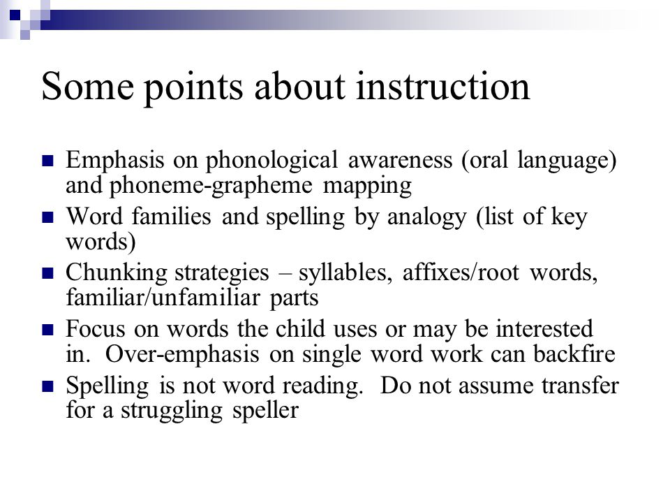 Some points about instruction