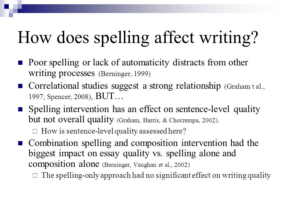 How does spelling affect writing