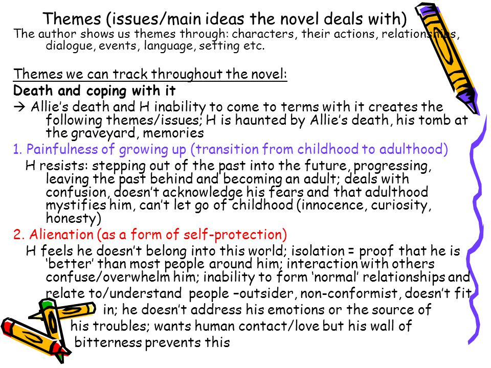 Themes (issues/main ideas the novel deals with)