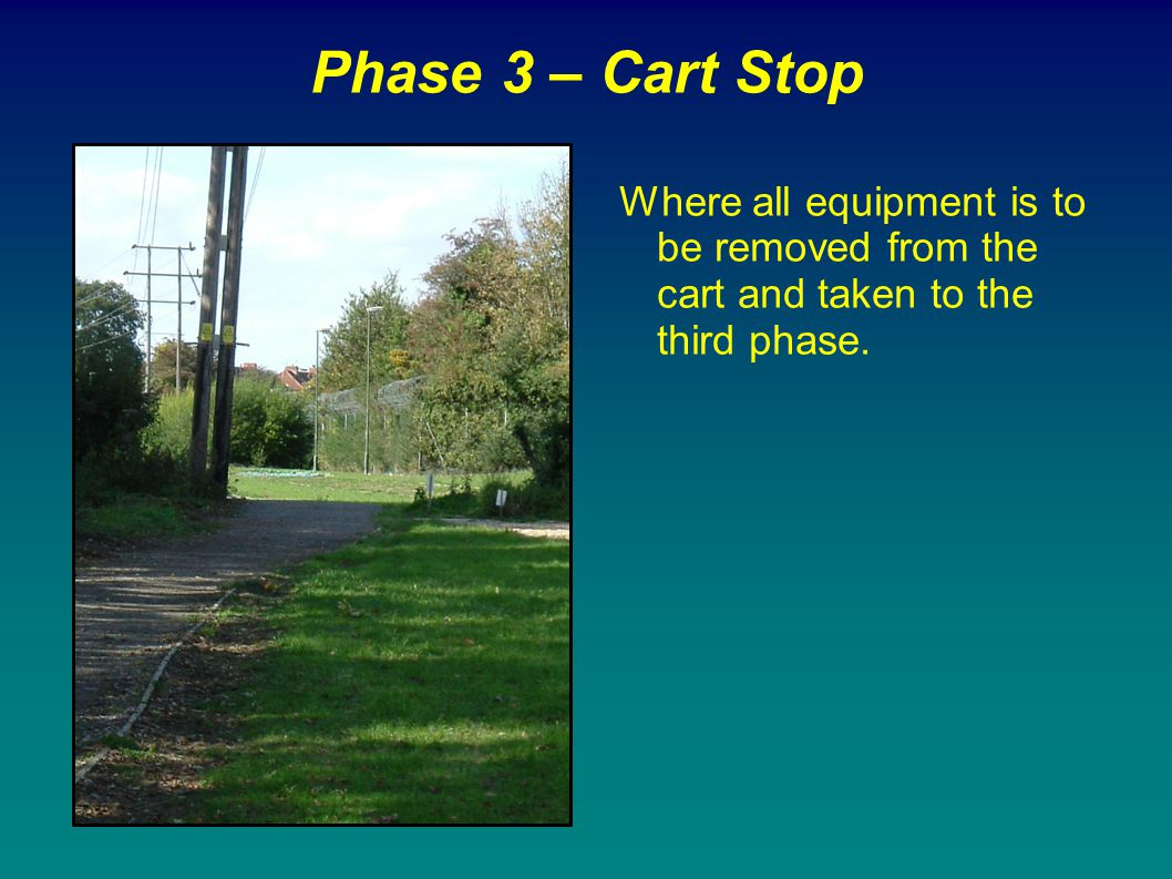 Phase 3 – Cart Stop Where all equipment is to be removed from the cart and taken to the third phase.