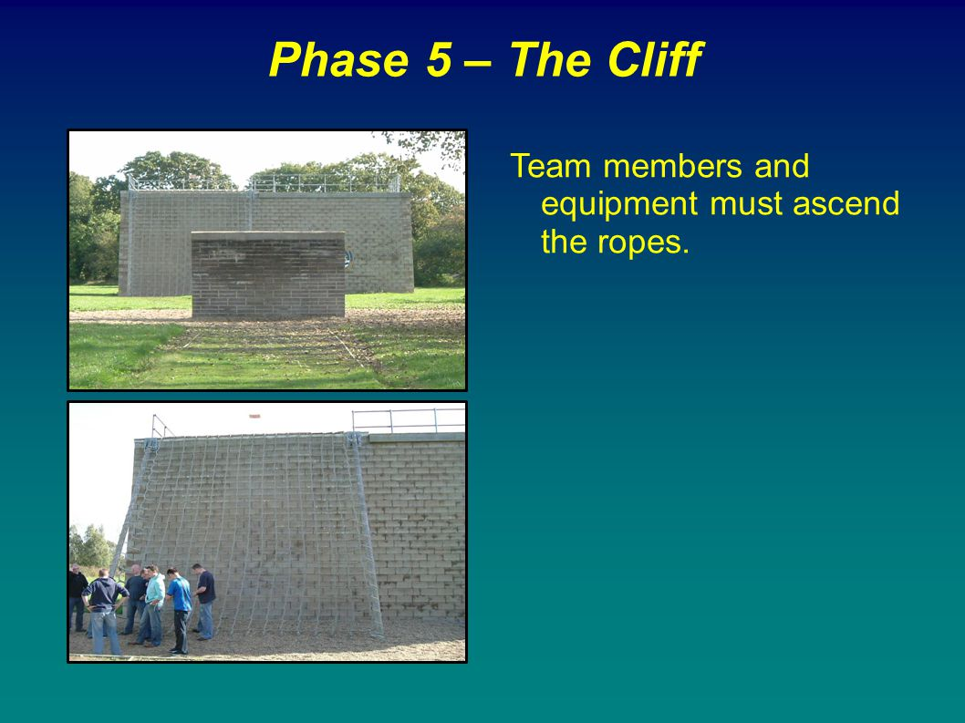 Phase 5 – The Cliff Team members and equipment must ascend the ropes.