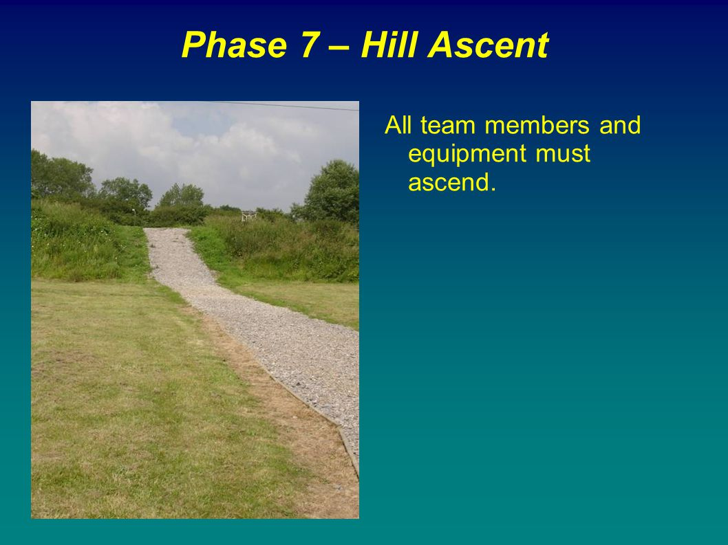Phase 7 – Hill Ascent All team members and equipment must ascend.